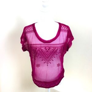 Free People Embroidered Tulle Sheer Fuschia Top